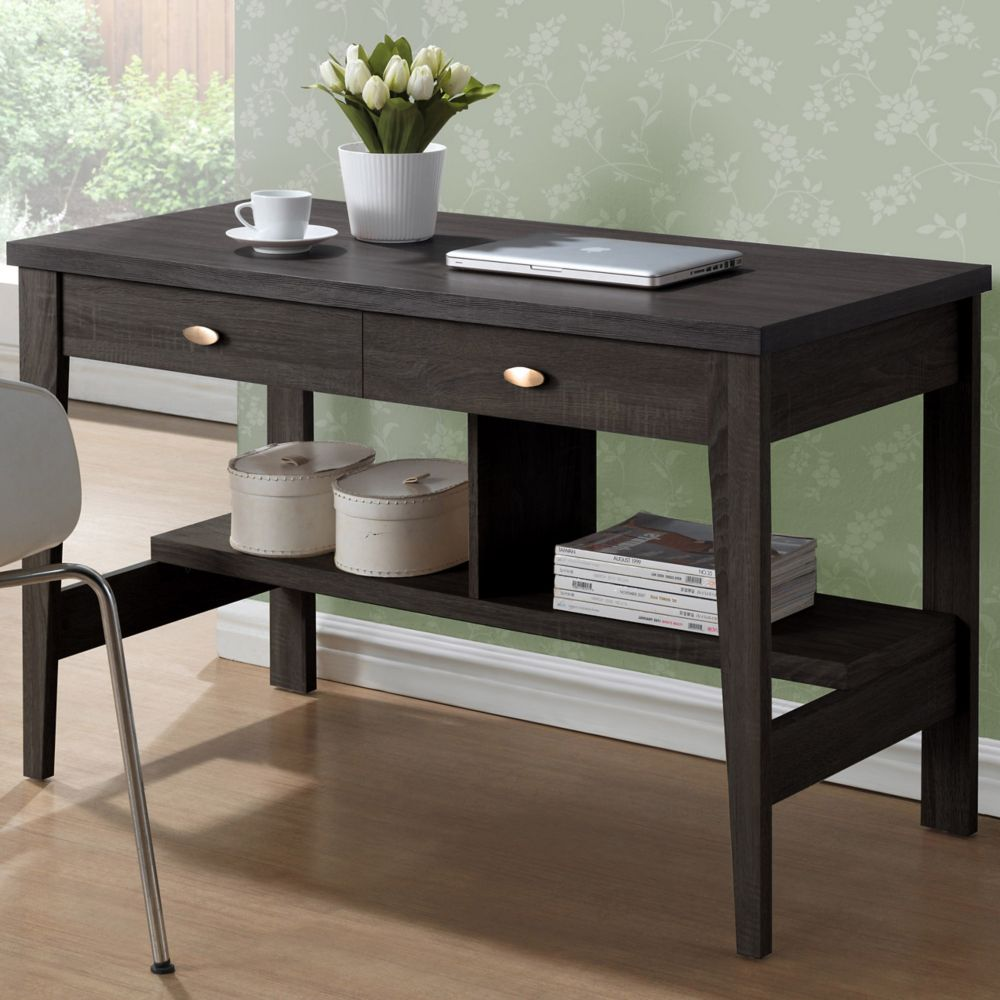 Bureau de travail Folio à deux tiroirs couleur espresso noir