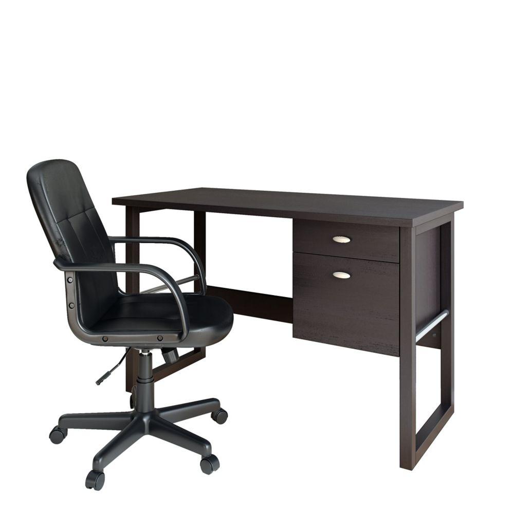 Folio 2pc Black Espresso Desk And Office Chair Set