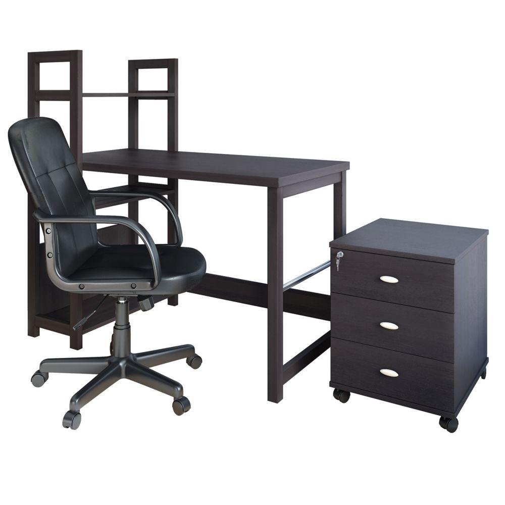 Folio 3pc Black Espresso Desk, Cabinet And Office Chair Set