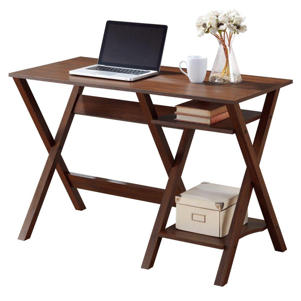 Folio Warm Oak Desk With Two Lower Shelves