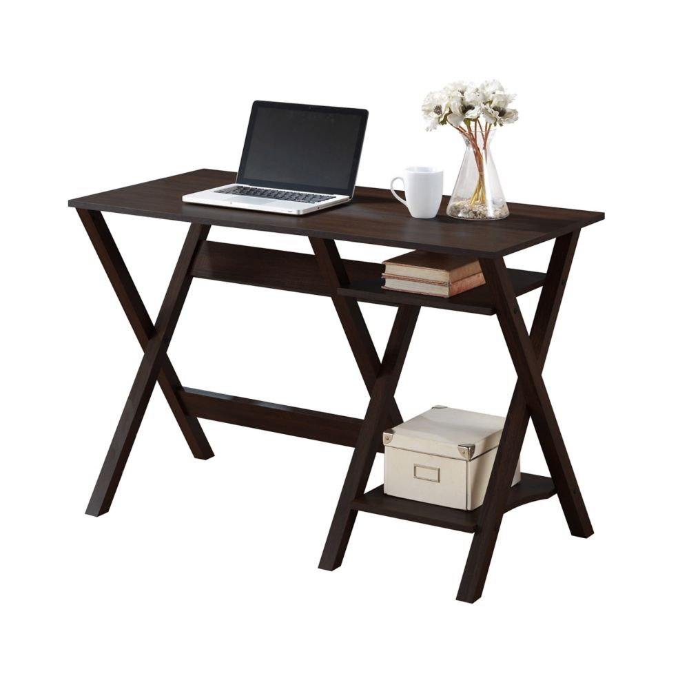 Folio Modern Wenge Desk With Two Lower Shelves