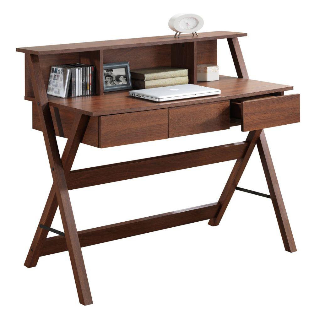 Folio Warm Oak Three Drawer Desk With Low Profile Hutch