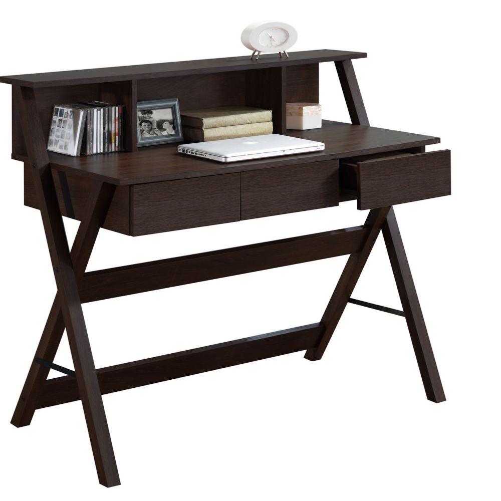 Folio Modern Wenge Three Drawer Desk With Low Profile Hutch