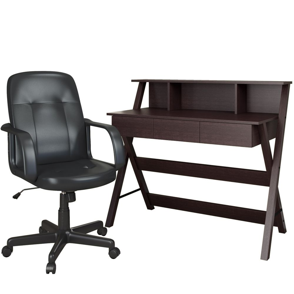 Folio 2pc Modern Wenge Desk And Office Chair Set