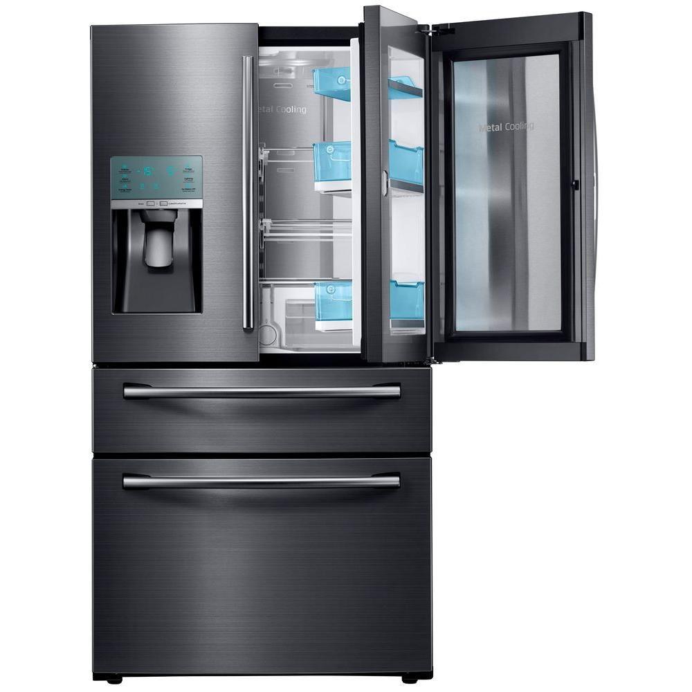 Réfrigérateur à portes françaises (4portes) de 30pieds cube acier inoxydable noir - RF28JBEDBSG