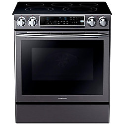 Samsung 31-inch 5.8 cu. ft. Slide-In Electric Range with Convection Oven in Black and Stainless Steel