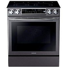 31-inch 5.8 cu. ft. Slide-In Electric Range with Convection Oven in Black and Stainless Steel