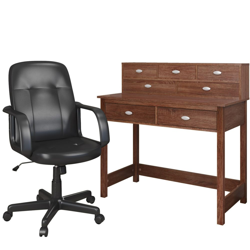 Folio 2pc Warm Oak Desk And Office Chair Set