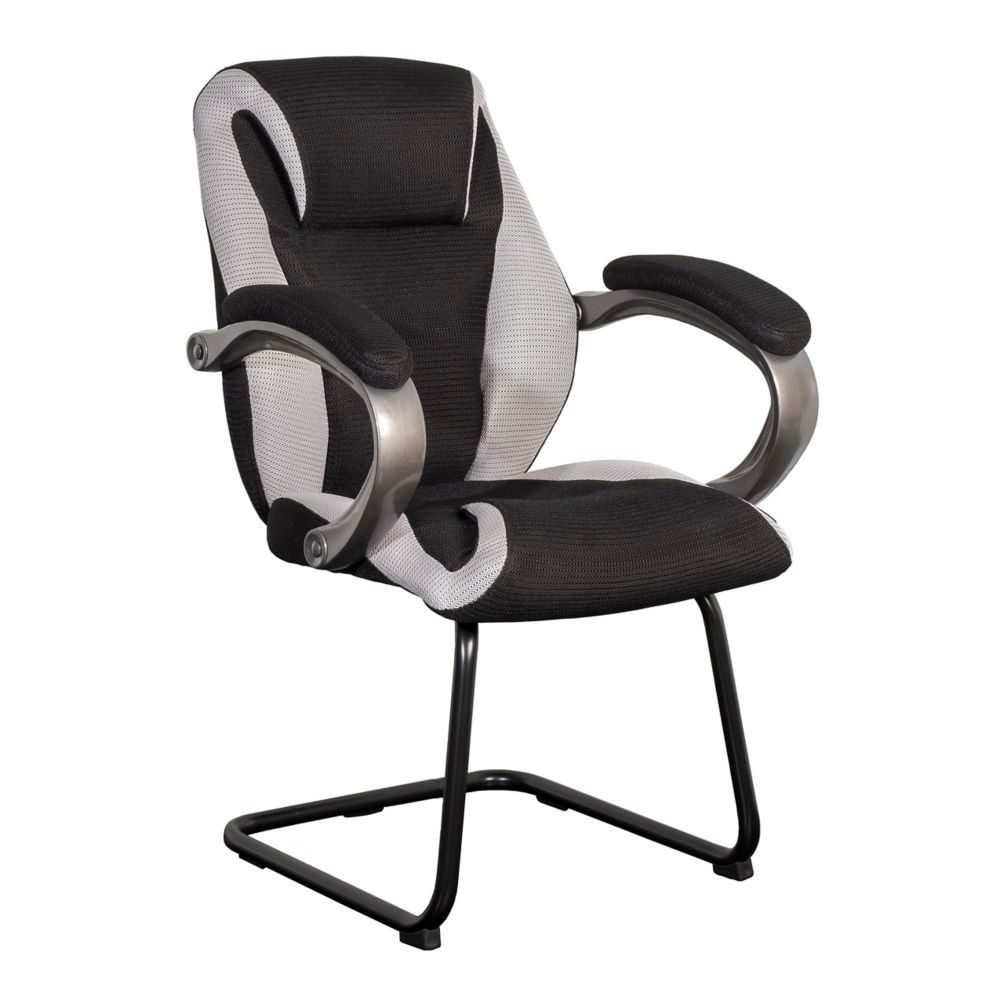 Corliving BIFMA Workspace Black And Grey Mesh Fabric Office Guest Chair