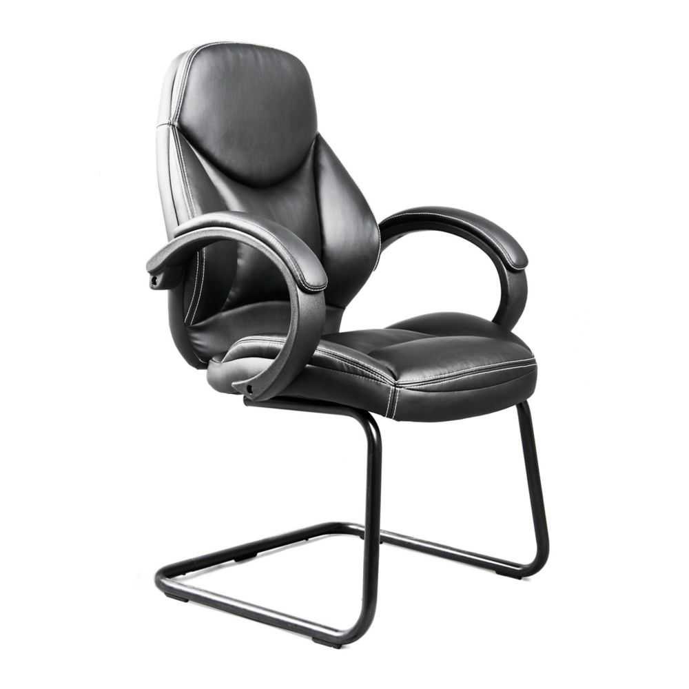 BIFMA Workspace Black Bonded Leather Office Guest Chair
