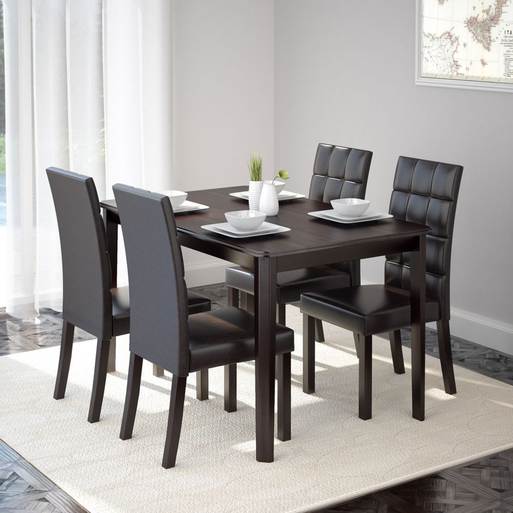 """Corliving Atwood 47"""" Dining table with 4 Dark Brown Leatherette Seats"""