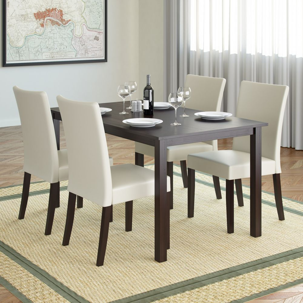 Atwood 55 Inch Dining Table In Cappuccino With 4 Cream Leatherette Chairs