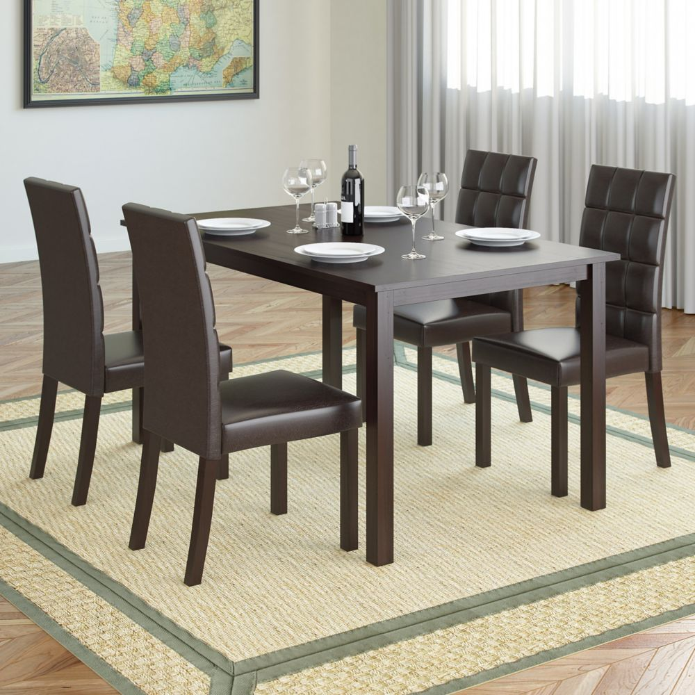 Atwood 55 Inch Dining Table In Cappuccino With 4 Dark Brown Leatherette Chairs