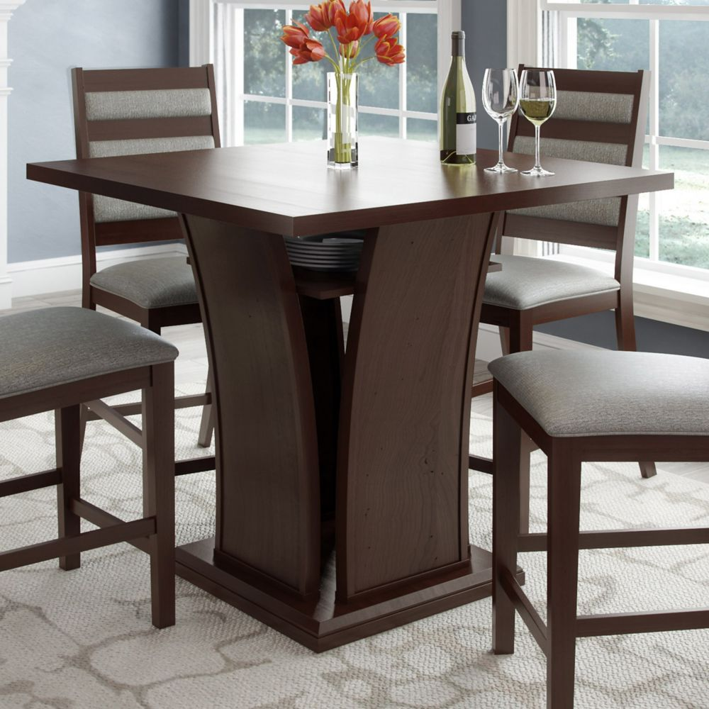 Corliving Bistro 36 Inch Counter Height Cappuccino Dining Table With Curved Base