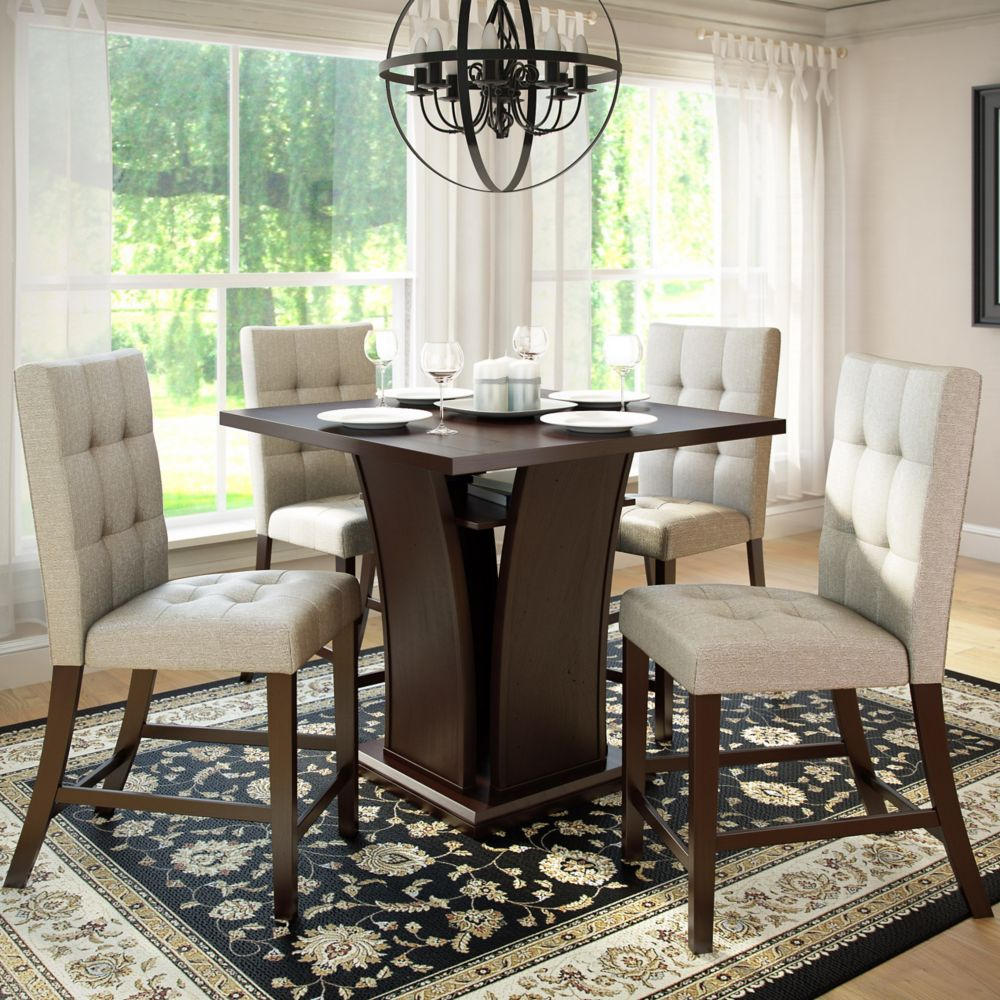 Bistro 5pc 36 Inch Counter Height Rich Cappuccino Dining Set - Tufted Platinum Sage