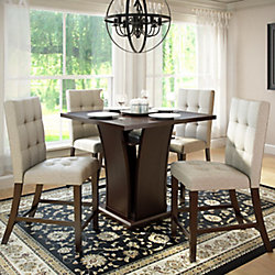 Corliving Bistro 5-Piece 36 Inch Counter Height Rich Cappuccino Dining Set - Tufted Platinum Sage