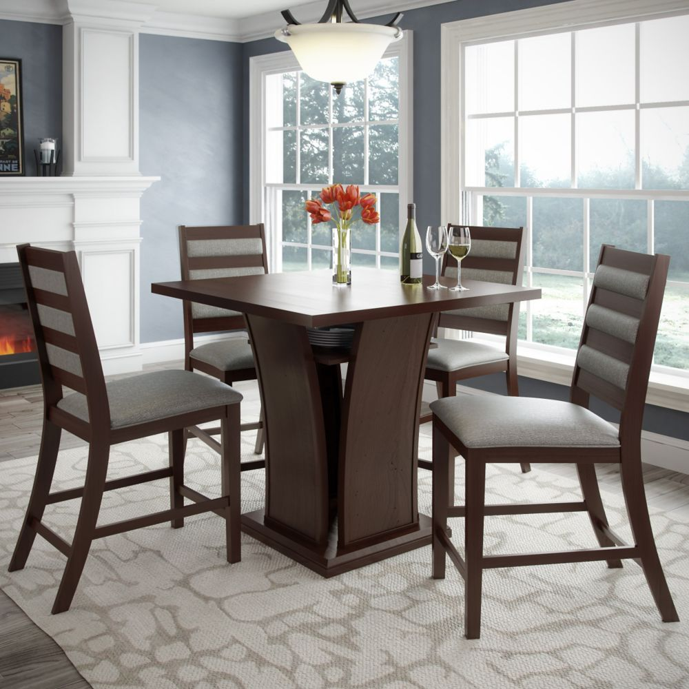 Bistro 5pc 36 Inch Counter Height Rich Cappuccino Dining Set - Platinum Sage