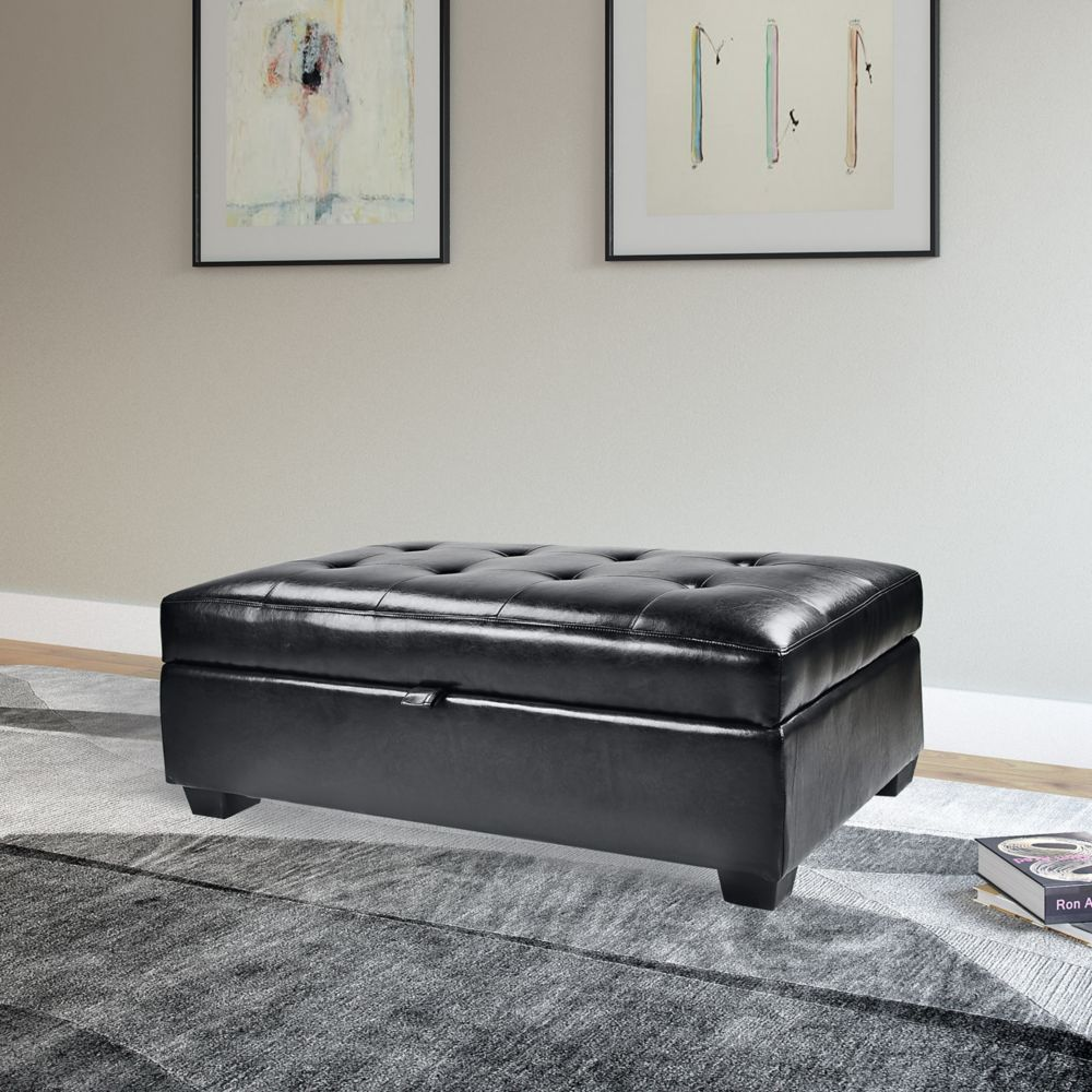 Antonio Storage Ottoman In Black Bonded Leather