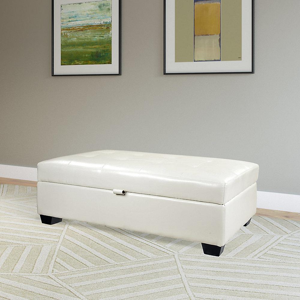 newest fe155 62230 Antonio 46-inch x 18-inch x 28-inch Faux Leather Ottoman in White