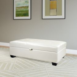 Corliving Antonio 46-inch x 18-inch x 28-inch Faux Leather Ottoman in White