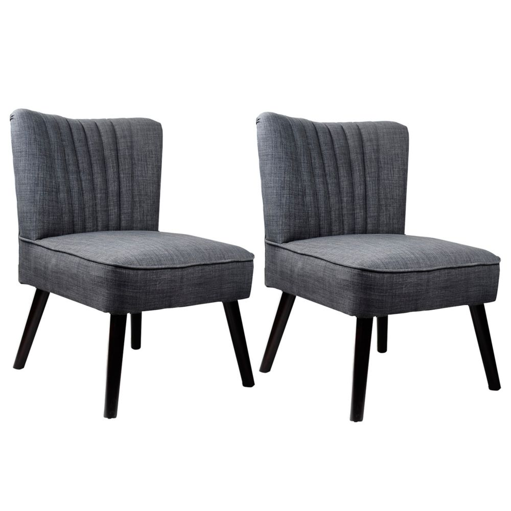 Antonio Accent Chair In Woven Grey, Set Of 2