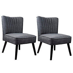 Corliving Antonio Contemporary Club Polyester/Polyester Blend Accent Chair in Grey with Solid Pattern
