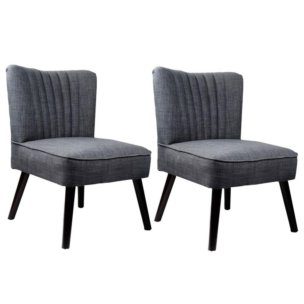 Ensemble de 2 fauteuils dappoint Antonio en gris tissé