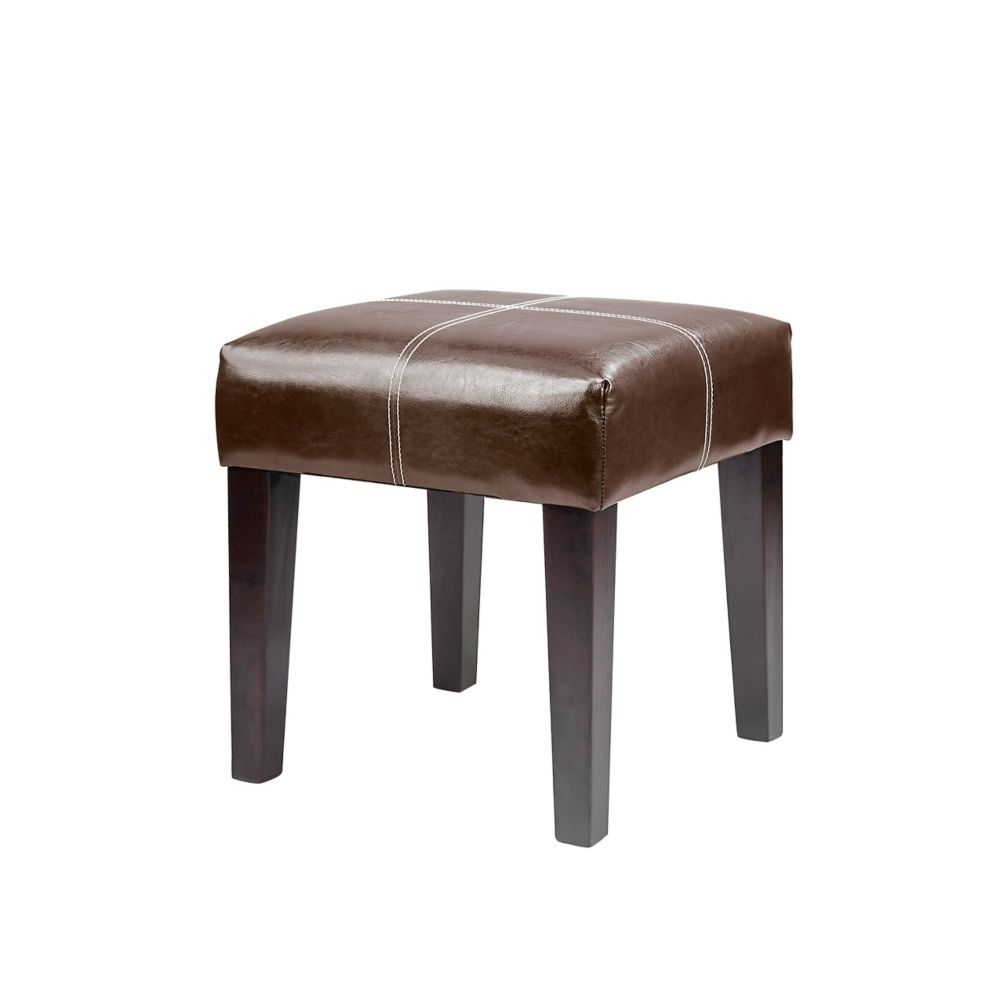 Antonio 16 Inch Bench In Dark Brown Bonded Leather