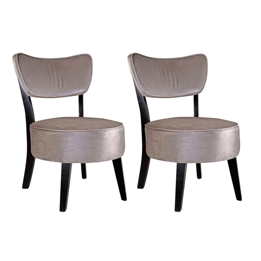 Antonio Accent Chair In Grey Velvet, Set Of 2