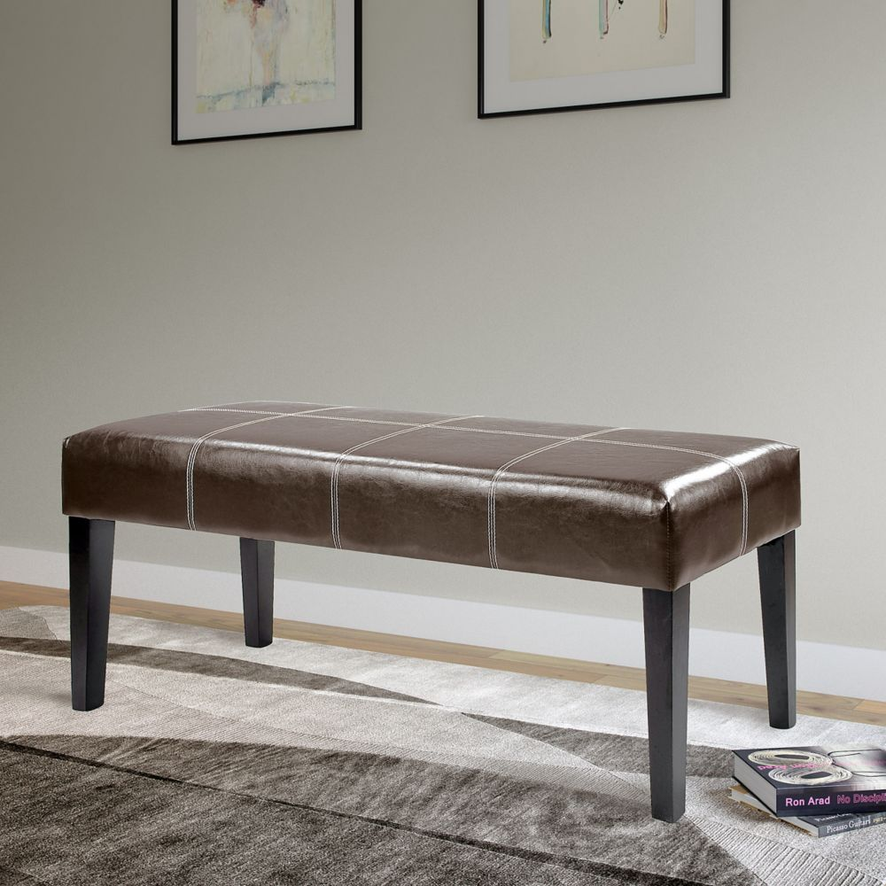 Antonio 47 Inch Bench In Dark Brown Bonded Leather