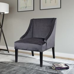 Corliving Antonio Contemporary Club Velvet Accent Chair in Grey with Solid Pattern