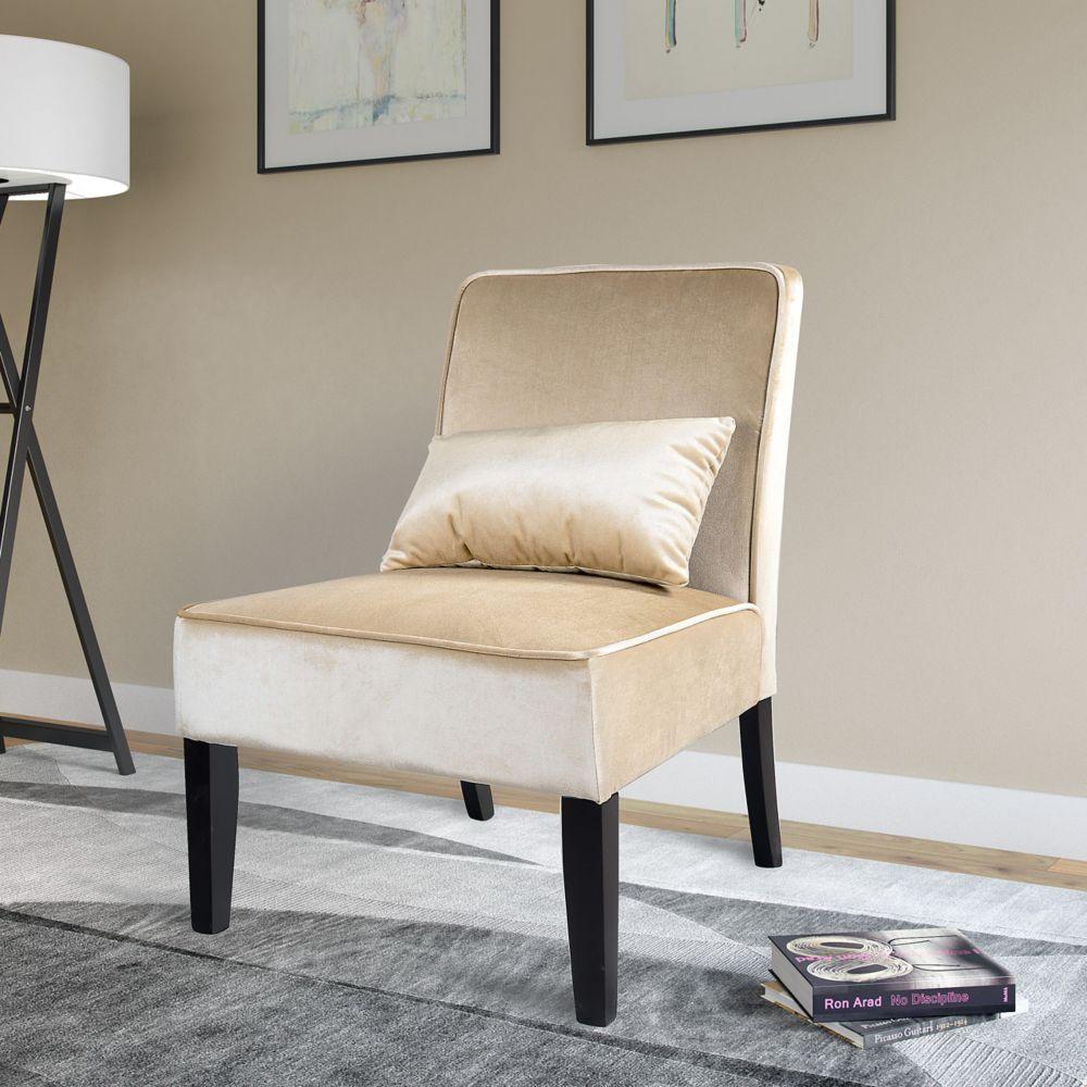 Antonio Lounge Chair In Soft Cream Velvet