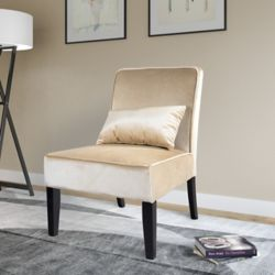 Corliving Antonio Contemporary Club Velvet Accent Chair in Beige with Solid Pattern