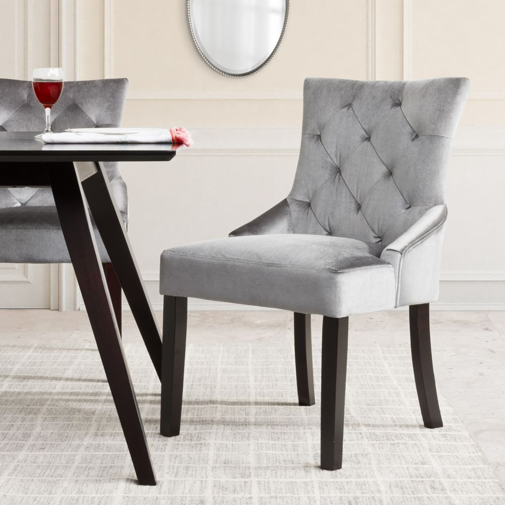 Antonio Accent Chair In Soft Grey Velvet, Set Of 2