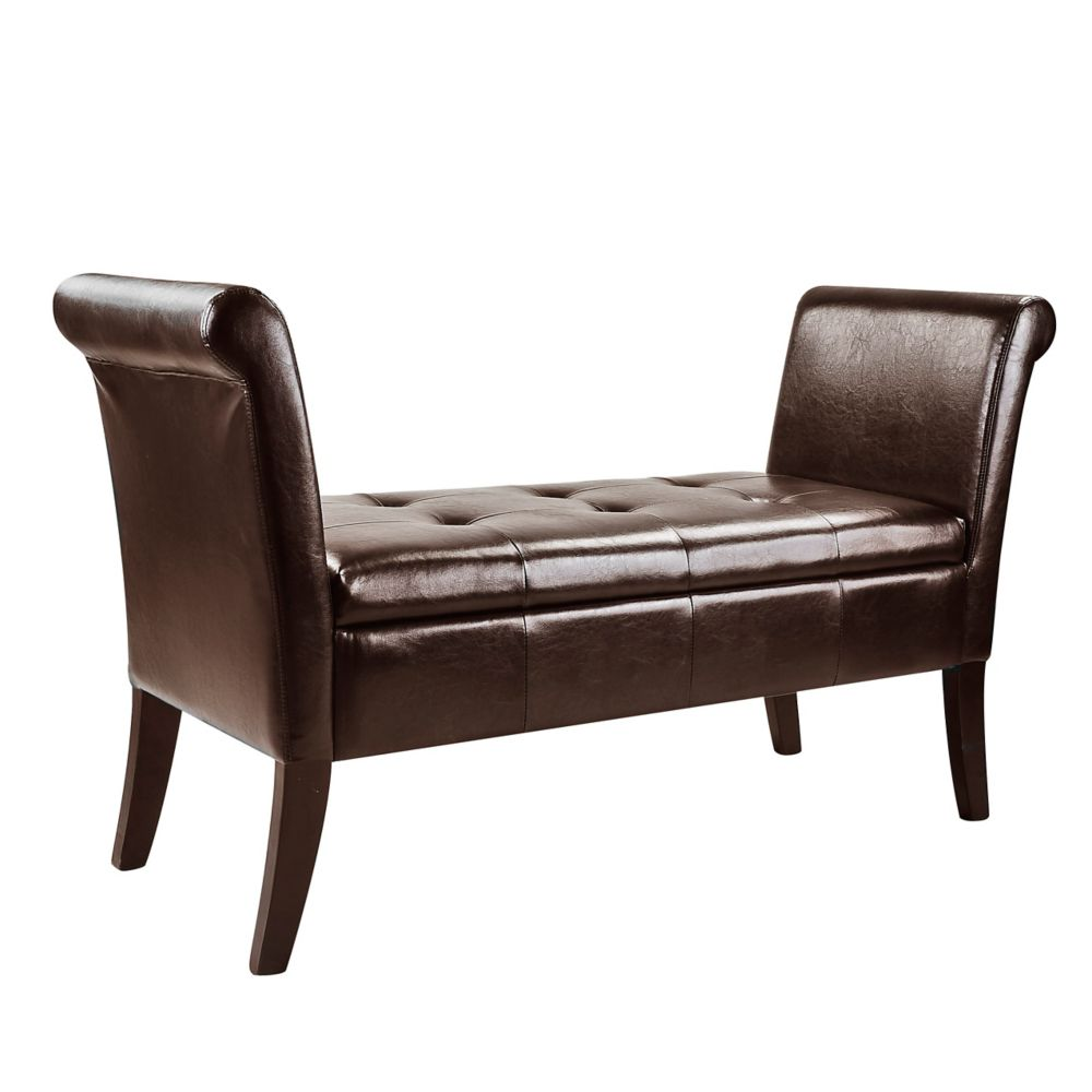 Antonio Storage Bench With Scrolled Arms In Black Bonded Leather