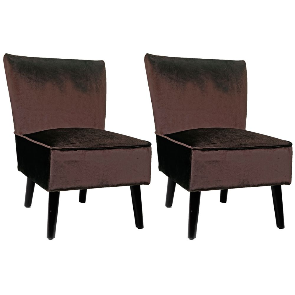 Antonio Lounge Chair In Deep Brown Velvet, Set Of 2