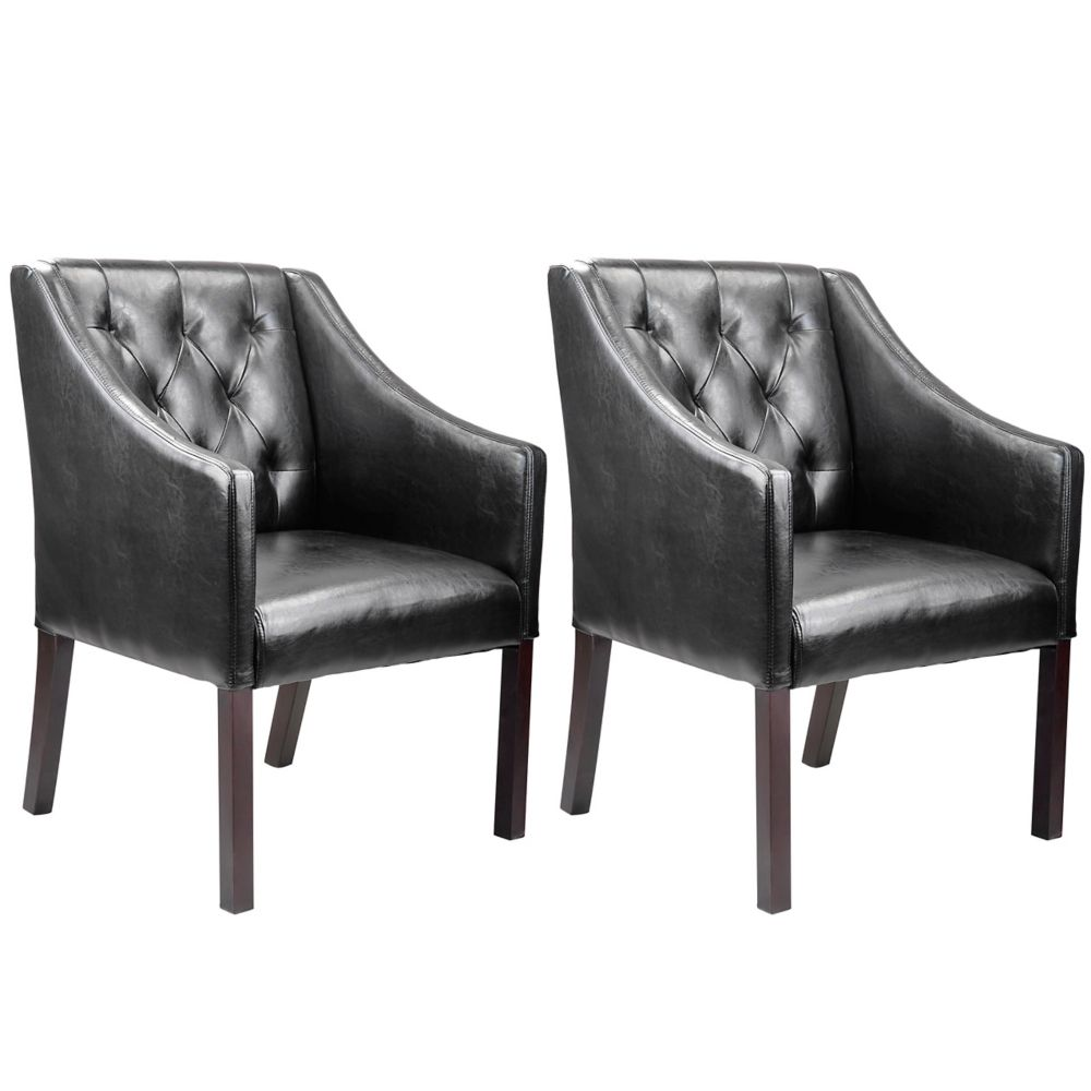 Antonio Accent Club Chair In Black Bonded Leather, Set Of 2
