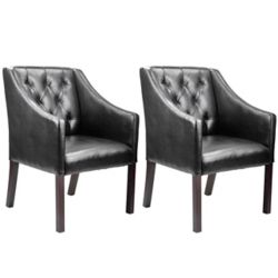 Corliving Antonio Contemporary Club Genuine Leather Accent Chair in Black with Solid Pattern