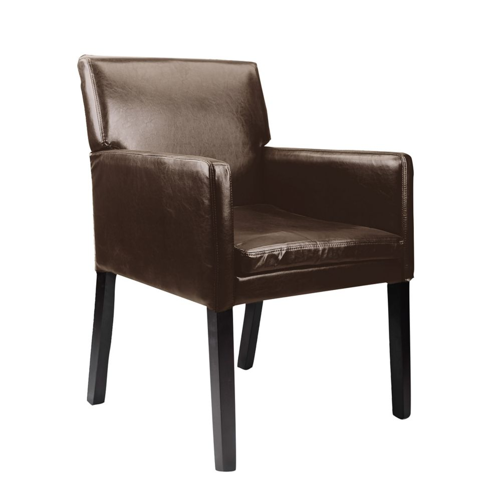 Corliving Antonio Contemporary Club Genuine Leather Accent Chair in Brown with Solid Pattern