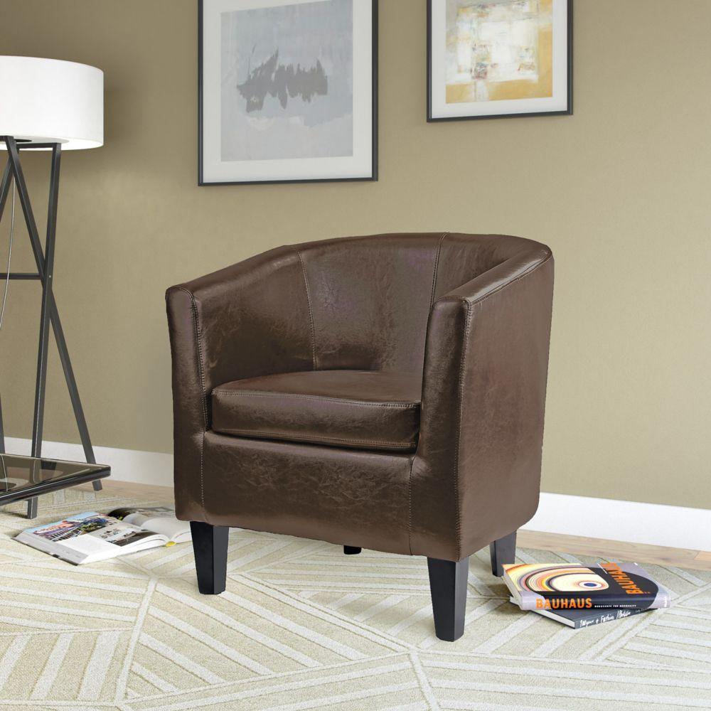 Antonio Tub Chair In Dark Brown Bonded Leather