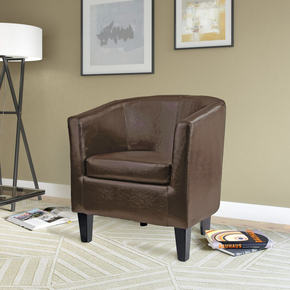 Antonio Tub Chair In Dark Brown Bonded Leather