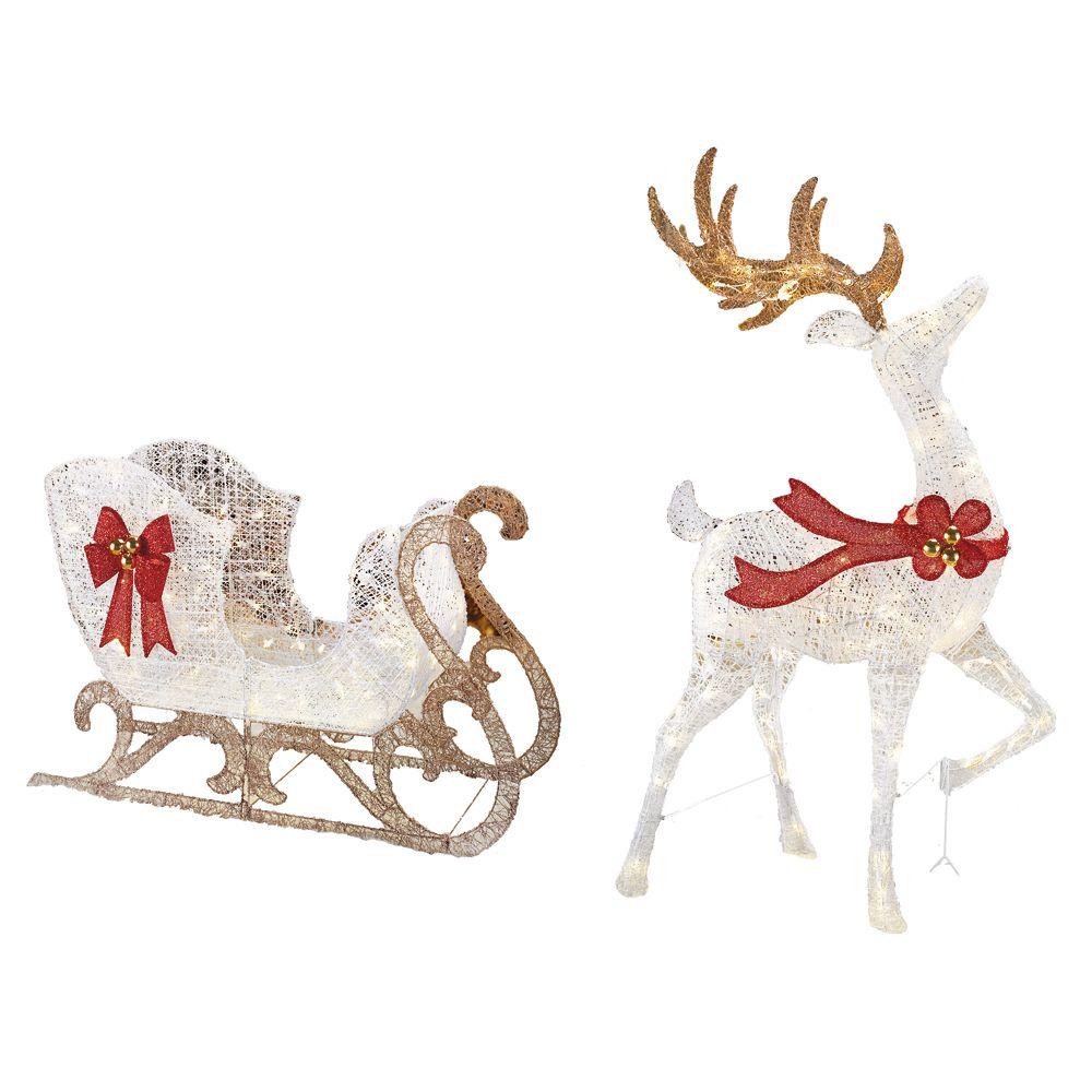 5 Feet Led Sparkling Reindeer With Sleigh