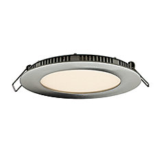 Ultraslim 4-inch LED Recessed Round Panel Light in Satin Nickel