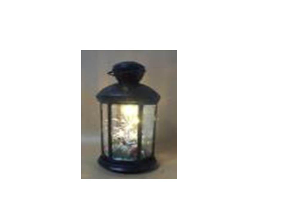 14 Inch Lantern With Tree & LED Lights