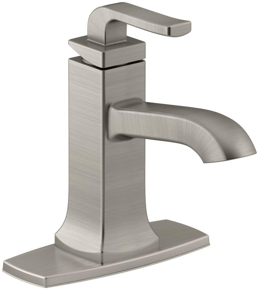 Robinet de lavabo de salle de bain à poignée unique Rubicon de fini nickel brossé