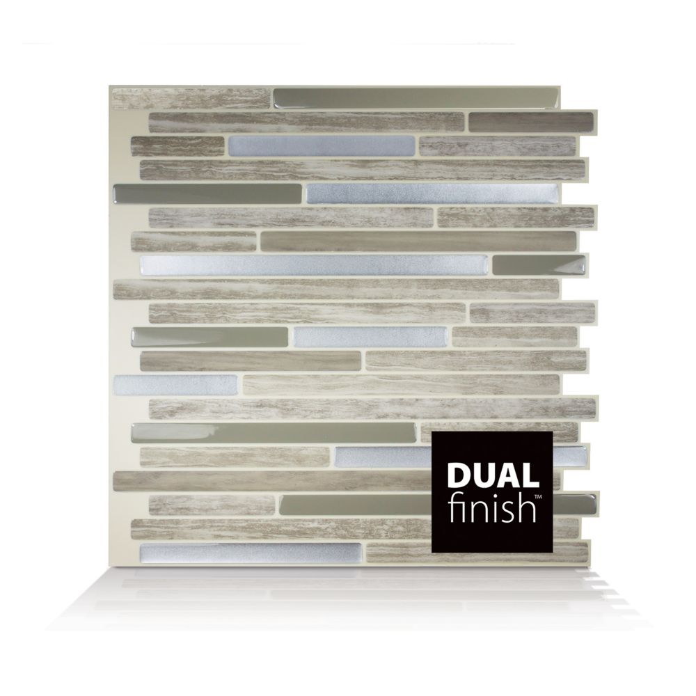 - Smart Tiles Capri Taupe 9.88-inch W X 9.70-inch H Peel And Stick