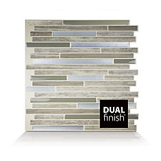 Capri Taupe 9.88-inch W x 9.70-inch H Peel and Stick Decorative Mosaic Wall Tile Backsplash (6-Pack)