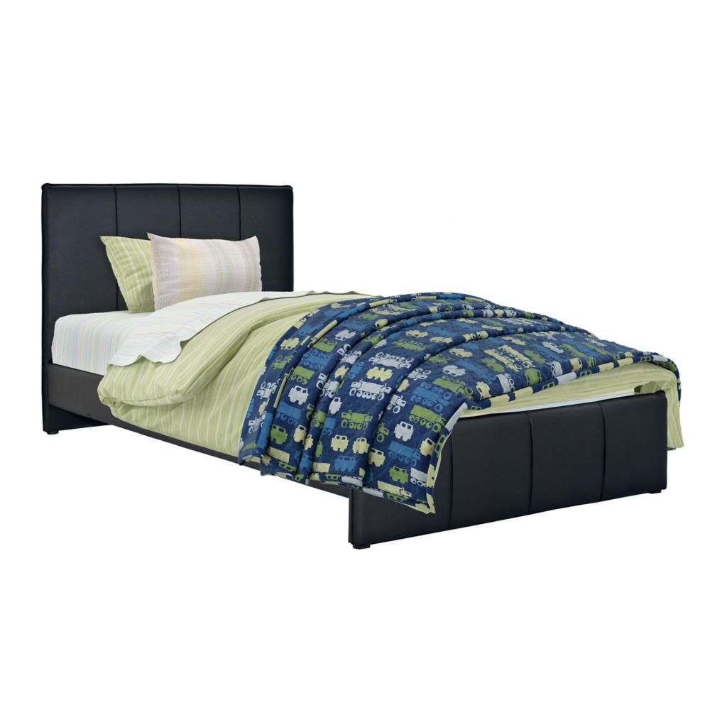 Fairfield Black Bonded Leather Twin/Single Bed