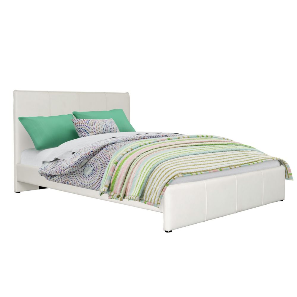 Corliving Fairfield White Bonded Leather Full/Double Bed