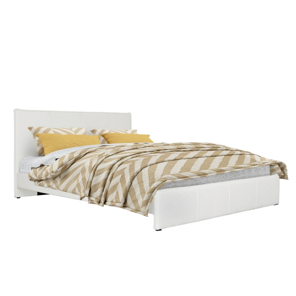 Fairfield White Bonded Leather Queen Bed